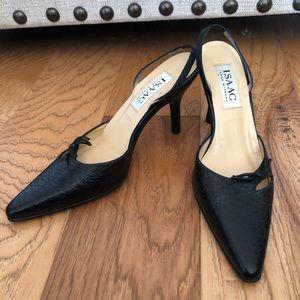 Isaac Mizrahi black vintage kitten heel sling back